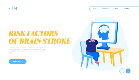 Hypertension Crisis Landing Page Template. Male Character Have Brain Stroke, Apoplexy Attack on Working Place. Office Employee with Strong Headache Sitting at Desk on Pc. Cartoon Vector Illustration