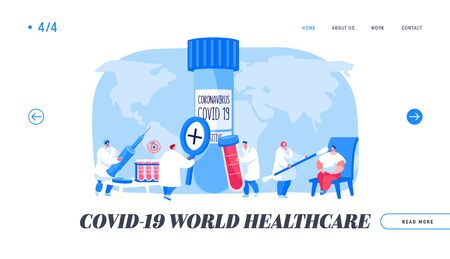 Covid19 Diagnostics Landing Page Template. Doctor Character Take Express Test Sampling to Determine Presence Contagious Coronavirus Infection Disease in Laboratory. Cartoon People Vector Illustration