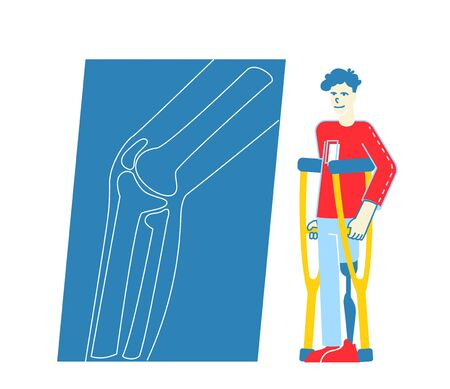 Invalid Handicapped Man Character Stand on Crutches with Leg Prosthesis Visiting Orthopedy Clinic or Hospital. Healthcare Disability, Medicine, Therapy Doctor Appointment. Linear Vector Illustration Zdjęcie Seryjne - 147620443