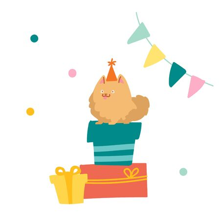 Cute Spitz Sitting on Pile of Gift Boxes. Dog Character Celebrate Birthday. Funny Pet in Festive Hat Sit on Wrapped Presents in Room Decorated with Flags and Confetti. Cartoon Vector Illustration Illustration
