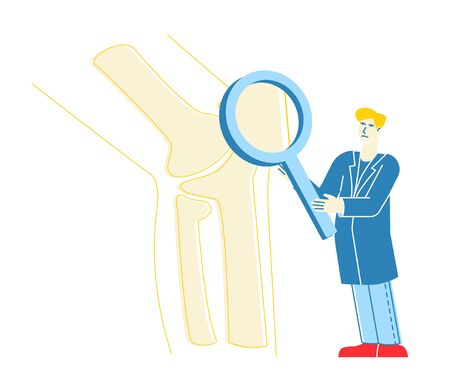 Orthopedics Healthcare Concept. Doctor Orthopedist Character Looking on Huge Leg Bones, Knee Joint through Magnifying Glass. Specialist Medical Check Up in Hospital. Linear Vector Illustration