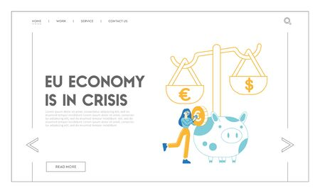 Open Bank Deposit, Plan Finance Budget Landing Page Template. Female Character Put Golden Euro Coin to Huge Piggy Bank. Woman Save and Collect Money in Thrift-box. Savings. Linear Vector Illustration