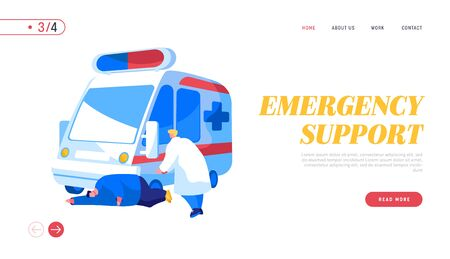 Ambulance Medical Staff Service Occupation Landing Page Template. Medic Character Help Man Patient with Apoplexy Attack or Brain Stroke Lying on Ground, Emergency. Cartoon People Vector Illustration Vettoriali