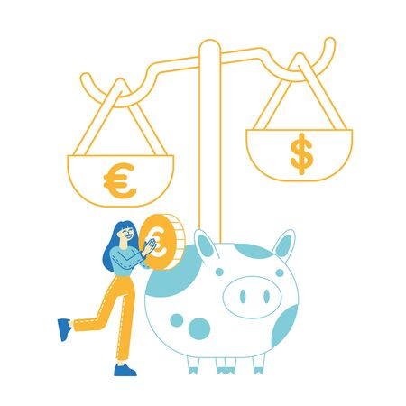 Woman Save and Collect Money in Thrift-box, Open Bank Deposit, Plan Finance Budget. Female Character Put Golden Euro Coin into Huge Piggy Bank, Diversification of Savings. Linear Vector Illustration