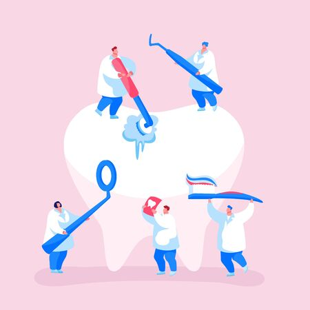 Dental Care Concept. Tiny Dentists Characters in Medical Robe Cleaning and Brushing Huge Teeth. Doctor Using Mirror. Health Care, Oral Treatment Program, Check Up. Cartoon People Vector Illustration