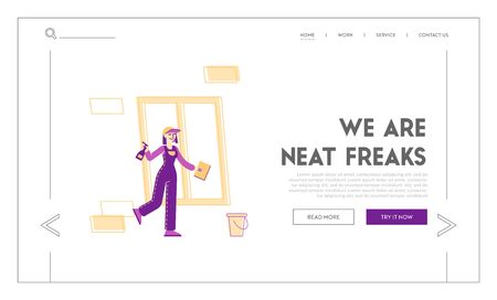 Cleaning Service Landing Page Template. Female Character in Uniform Washing Window. Professional Cleaning Company Worker with Equipment at Work. Housekeeping Occupation. Linear Vector Illustration