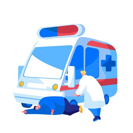 Ambulance Medical Staff Service Occupation. Medic Character Help Man Patient with Apoplexy Attack or Brain Stroke