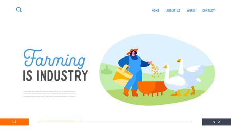 Girl Care of Birds on Poultry Farm at Summertime Landing Page Template. Young Woman Feeding Geese on Nature