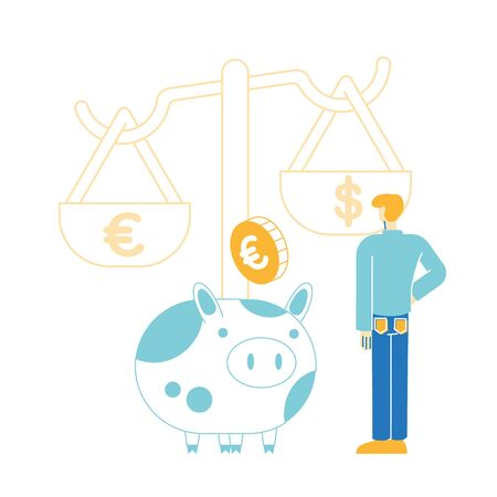 Male Character Put Golden Euro Coin in Piggy Bank at Scales. Man Save and Collect Money in Thrift-box, Open Bank Deposit