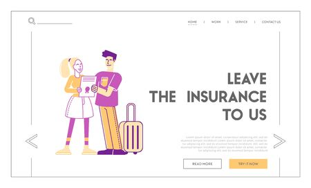 Compensation for Accident and Danger Life Situation Landing Page. Happy Tourists Characters Hold Signed Insurance