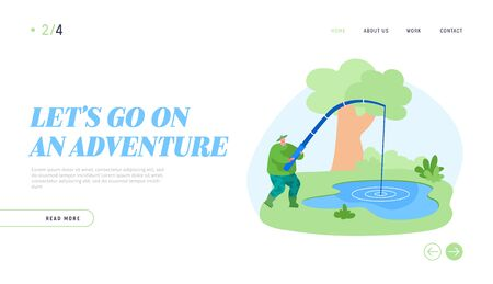 Fishman Have Good Catch Landing Page Template. Fisherman Character with Rod Catching Fish in Pond Ilustração