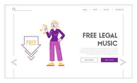 Free Download Landing Page Template. Woman Holding Music Icon in Hand. Stream or Upload Torrent Data from Servers Foto de archivo - 148042576