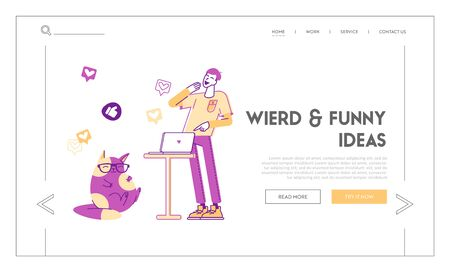 Social Media Shared Internet Content Landing Page Template. Male Character or Teenager Watching Funny Viral Video Clip