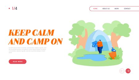 Relaxing on Nature Landing Page Template. Woman Stand with Bucket near Forest Pond Going to Scoop Up Water
