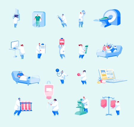 Hospital Healthcare Staff Set. Male Female Doctors, Nurses Characters with Medical Stuff and Equipment Isolated on White Background. Medicine Profession, Occupation. Cartoon People Vector Illustration