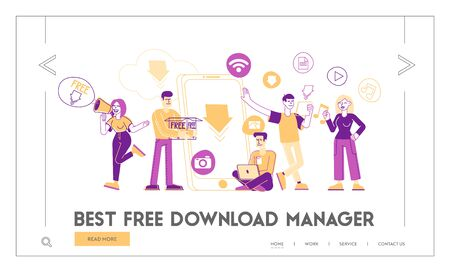 Free Download Landing Page Template. Characters at Huge Smartphone Transfer and Sharing Files Using Torrent Servers Services. Online Media Shopping, Modern Lifestyle. Linear People Vector Illustration