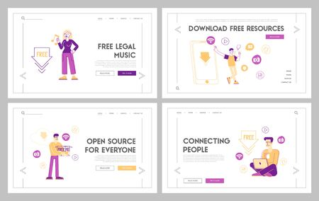 Free Download Landing Page Template Set. Characters at Huge Mobile Transfer and Sharing Files Using Torrent Servers Services. Online Media Shopping, Modern Lifestyle. Linear People Vector Illustration Foto de archivo - 147625583