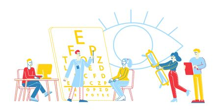 Professional Optician Exam People for Vision Treatment. Ophthalmologist Doctor Character Check Eyesight for Eyeglasses
