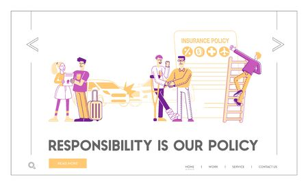 Life and Property Safety Guarantee Landing Page. People Fill Accident Insurance Form. Agent Shake Hand to Client