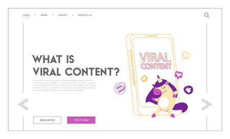 Viral Content Landing Page Template. Funny Unicorn Character Dancing at Huge Smartphone. Online Advertising Illustration