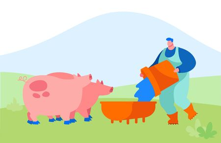 Young Man Feeding Pigs Putting Grain in Trough. Male Farmer Character at Work Process Caring of Domestic Animals 向量圖像