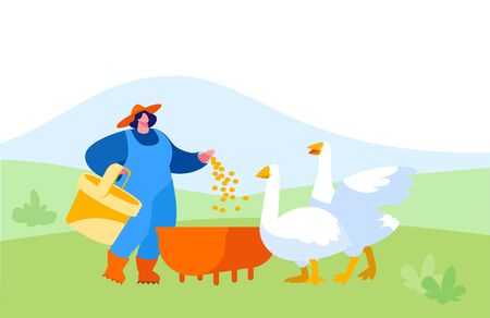 Young Woman in Working Robe Feeding Geese on Nature. Female Farmer, Villager Character at Work