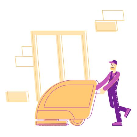 Professional Janitor Worker Vacuuming and Polishing Floor in Office or Hotel Lobby. Cleaning Company Staff Character Illustration