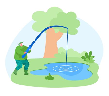 Fisherman Character with Rod Catching Fish in Pond. Fishing Outdoor Relaxing Summertime Hobby. Fishman Have Good Catch