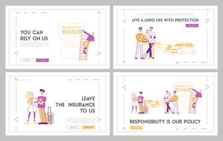 Life and Health Safety Guarantee Landing Page Template. People Fill Accident Insurance Form. Agent Shake Hand to Client