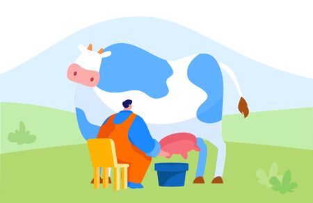 Young Milkmaid Man Character in Uniform Sitting on Chair and Milking Cow into Bucket. Milk and Dairy Farmer