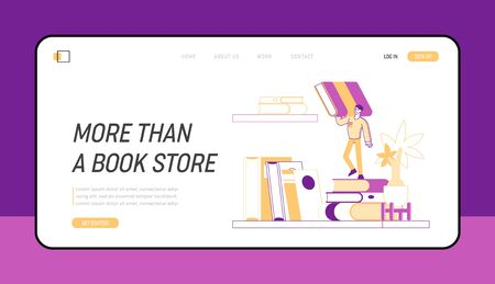 Education, Reading Hobby and Knowledge Landing Page Template. Tiny Male Character Holding Huge Book on Bookshelf 向量圖像