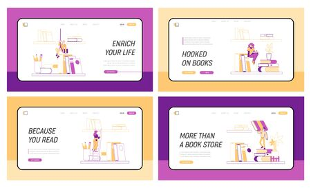 Tiny Characters on Shelf with Huge Books Landing Page Template Set. Reading and Education Concept. People Read and Study