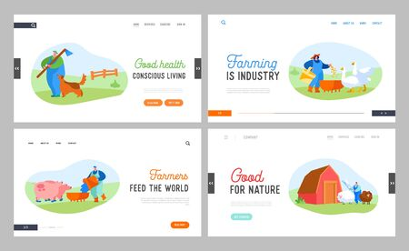 People Doing Farming Job Landing Page Template Set. Feeding Domestic Animals, Milking Cow, Shearing Sheep Vectores