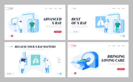 Tomography Mri Scanning Procedure Landing Page Template Set. Doctors Characters Look at Results of Patient Body Scan Ilustracja