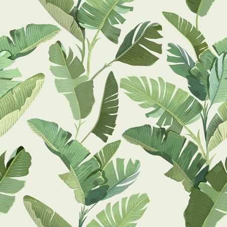 Seamless Tropical Floral Print with Exotic Green Jungle Banana Palm Leaves on Beige Background. Rainforest Wild Plants