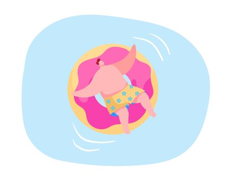 Resort or Hotel Relaxation in Swimming Pool. Happy Male Character Relax and Float in Ocean or Sea on Holidays Enjoying Summer Time Vacation Floating on Inflatable Mattress. Cartoon Vector Illustration