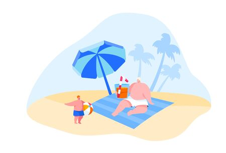 Family Characters Spend Summer Vacation on Tropical Resort. Father Drinking Cocktail, Little Boy Playing with Ball. Summertime Holidays Leisure, Recreation Activity. Cartoon People Vector Illustration