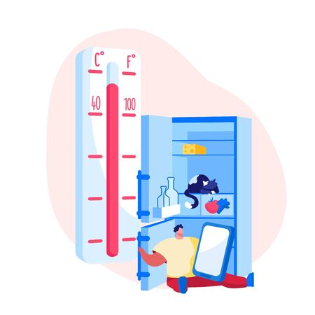 Heat Stroke, Extremal Heating Conditions. Unhappy Male Character Sweating Sitting at Home with Open Refrigerator Suffering of High Temperature at Summer Time Hot Period. Cartoon Vector Illustration Imagens - 148075712