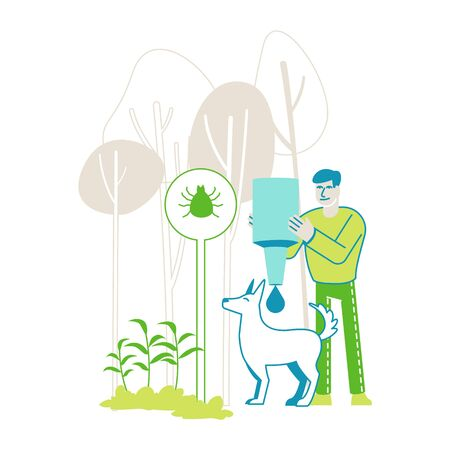 Male Character Dripping Drops against Encephalitis Mites on Dogs. Owner Protect Pet of Ticks and Poisonous Insects Living on Plants, Domestic Animals Parasites Protection. Linear Vector Illustration Фото со стока - 148093195