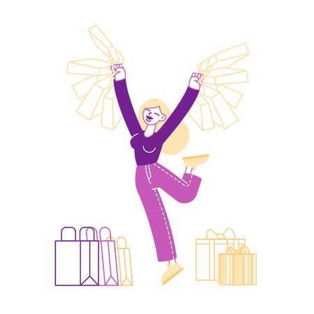 Happy Woman Holding Shopping Packages. Cheerful Shopaholic Girl Character with Purchases in Colorful Paper Bags. Female Buyer Having Fun during Seasonal Sale, Discount. Linear Vector Illustration