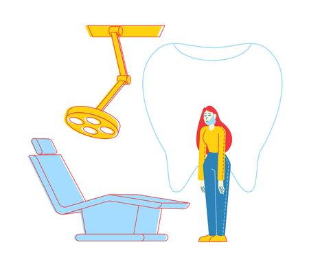 Woman Patient Character with Bandaged Face and Tooth Pain at Medical Stomatologist Cabinet with Equipment Visit Doctor Dentist Appointment for Oral Check Up and Treatment. Linear Vector Illustration