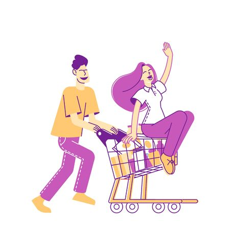 Happy Couple Characters Fool in Supermarket Riding Trolley. Happy Man Pushing Shopping Cart with his Girlfriend Sitting inside. Sparetime, Leisure, Vacation Fun. Linear People Vector Illustration 版權商用圖片 - 148093211