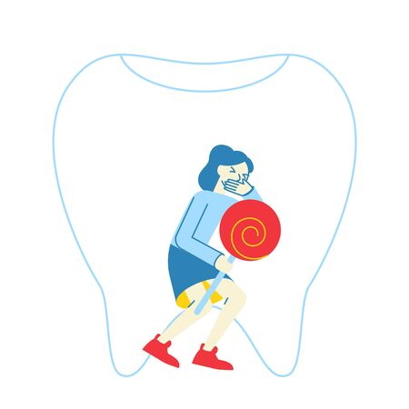 Little Girl with Lollipop Holding Cheek Feeling Terrible Pain in Tooth or Gum.Female Character Suffering of Toothache. Caries in Oral Cavity, Tooth Ache, Dentistry Concept. Linear Vector Illustration Illustration