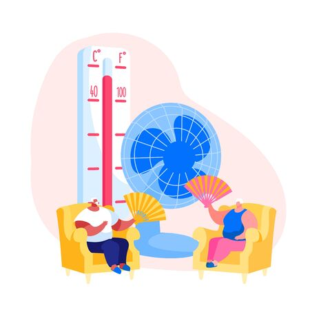 Summer Hot Period Concept. Sweltering in Heat Aged People Characters Sitting on Sofa Use Fans and Ventilator to Get a Little Bit Cool. Heat Stroke, Heating Weather. Cartoon People Vector Illustration