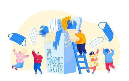 Characters Celebrate End of Quarantine. Pandemic of Coronavirus Covid-19 Lockdown Over Concept. Joyful and Happiness Feeling, Emotions, Joyful People Throw Out Masks. Cartoon Vector Illustration