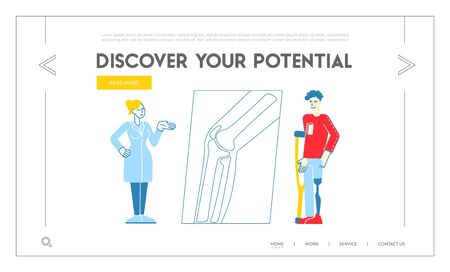 Doctor Orthopedist Hospital Appointment Landing Page Template. Invalid Man Character Stand on Crutches with Prosthesis on Leg Visiting Orthopedy Clinic or Hospital. Linear People Vector Illustration Ilustracja