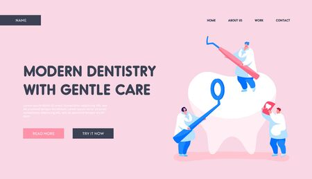 Dentistry People Working for Dental Care Teeth Landing Page Template. Tiny Dentists Characters Checking Tooth for Caries. Doctors Hold Stomatology Mirror, Carver and Xray. Cartoon Vector Illustration