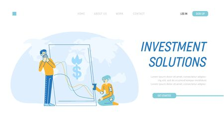 Financial Crisis Landing Page Template. Businesspeople Characters Feeling Failure and Frustrated with Market Crash. Stressed Business Man Trying not to Cry Woman Beg. Linear People Vector Illustration