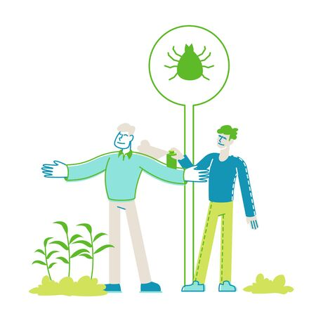 Man Spraying Insecticide on Friend from Huge Aerosol Bottle. Characters Protect themselves from Mites, Ticks, Mosquitoes and Gnat Walking Outdoors in Forest or Park. Linear People Vector Illustration