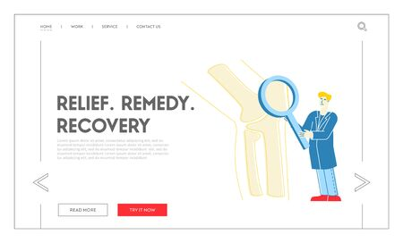 Orthopedics Healthcare Landing Page Template. Doctor Orthopedist Character Looking on Huge Leg Bones, Knee Joint through Magnifying Glass. Medical Check Up in Hospital. Linear Vector Illustration